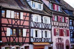 COLMAR, ALSACE – FRANCE. Colorful traditional french houses on the side of river Lauch in Petite Venise, Colmar, France. Colmar, Alsace, France. Petite Royalty Free Stock Image