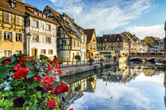 Colmar, Alsace, France. Very high resolution, 42.2 megapixels. Quay view of the little Venise in Colmar - Alsace - France. Typical house in the background stock image