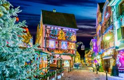 Colmar, Alsace, - Marche de Noel in France. Colmar, Alsace, France. Christmas Market, Marche de Noel with gingerbread houses and local craftsmen, famous in royalty free stock photos