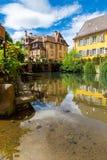 Colmar architektura i kwiat dekoracja Zdjęcie Royalty Free