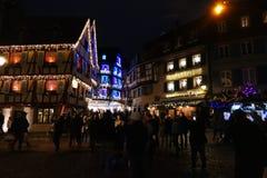 Colmar-christmasmarket nachts stockbild