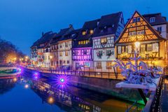 Colmar. City Canal on the sunset.. Royalty Free Stock Images