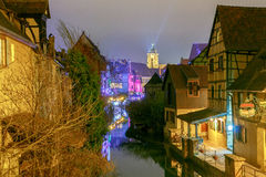 Colmar. City Canal on the sunset.. Royalty Free Stock Photography