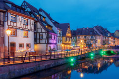 Colmar. City Canal on the sunset.. Royalty Free Stock Photo