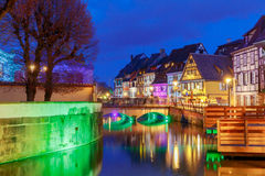 Colmar. City Canal on the sunset.. Stock Photo