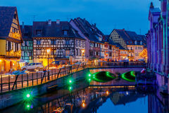 Colmar. City Canal on the sunset. Stock Photos