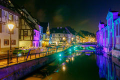 Colmar. City Canal on the sunset. Royalty Free Stock Images