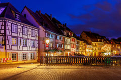 Colmar. City Canal on the sunset. Stock Image
