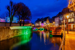 Colmar. City Canal on the sunset. Stock Photo