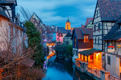 Colmar. City Canal on the sunset. Royalty Free Stock Image
