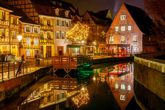 Colmar. City Canal on the sunset. Stock Images