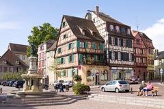 Colmar cityscape De Elzas, Frankrijk Stock Foto's