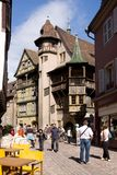 Colmar cityscape. An ancient lane in the old town of Colmar city with the famous Renaissance house 1537 known as Maison Pfister stock image