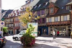 Colmar cityscape in a sunny day. Colmar is the capital of the Haut-Rhin department in Alsace. It is situated along the Alsatian Wine Route stock photos