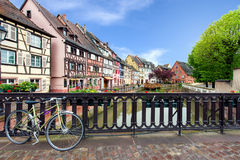 Colmar colorful traditional french houses with bicycle Stock Photos