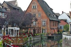 Colmar, France - Le Petite Venise. COLMAR, FRANCE - is called - Le Petite Venise - a lots of water channels and lots of flowers Royalty Free Stock Images
