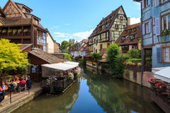 Colmar, France. City of Colmar, France, looking over La Lauch river, with typical timbered houses Royalty Free Stock Images