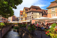 Colmar, France. City of Colmar, France, looking over the Logelbach canal, with typical timbered houses Stock Image