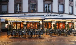 The traditional French brasserie Amandine decorated for Christmas in Colmar, Alsace, the East of France. stock images