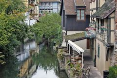 Colmar, France - Le Caveau St.Pierre Restaurant. COLMAR, FRANCE - OCTOBER 08: Le Caveau St.Pierre Restaurant will welcome you in this romantic setting in one of Stock Images