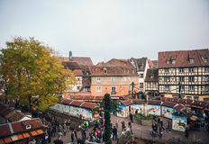 Aerial view of colmar Christmas Market in France Alsace. COLMAR, FRANCE - NOV 23, 2015: Aerial view of Colmar Alsace Christmas market with chalets market stall Stock Photography