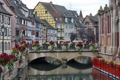 Colmar, France - Le Petite Venise. COLMAR, FRANCE - OCTOBER 08:  is called - Le Petite Venise - a lots of water channels and lots of flowers in Colmar, France on Stock Photos