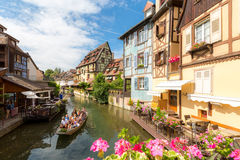 Colmar France. Colmar, Petit Venice, water canal and traditional colorful houses. Alsace, France. Long exposure Stock Photos