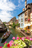 Colmar France. Colmar, Petit Venice, water canal and traditional colorful houses. Alsace, France. Long exposure Royalty Free Stock Images