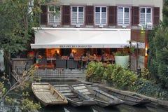 Colmar, France - Restaurant Winstub La Krutenau. COLMAR, FRANCE - OCTOBER 07: Restaurant Winstub La Krutenau - Tourist Restaurant in a prominent location on the Royalty Free Stock Photography