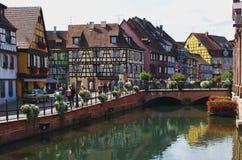 Colmar, Frankrijk: het Petit district van Venetië stock afbeelding