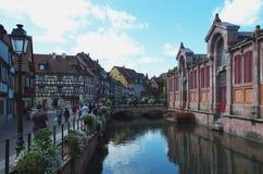 Colmar Frankrike: det Petit Venedig området Arkivfoto