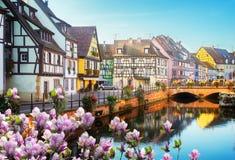 Colmar härlig stad av Alsace, Frankrike fotografering för bildbyråer