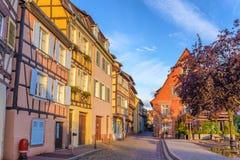 Colmar France. Colmar Half Timber House city skyline when sunrise, Colmar, France Royalty Free Stock Photo