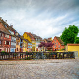 Colmar, Petit Venice, bridge, bike and traditional houses. Alsace, France. Royalty Free Stock Photography