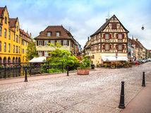 Colmar, Petit Venice, canal bridge and traditional half timbered Stock Image
