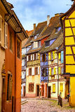 Colmar, Petit Venice, narrow street and traditional houses. Alsa Stock Photo