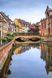Colmar, Petit Venice, Water Canal And Traditional Houses. Alsace, France. Stock Photos