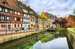 Colmar, Petit Venice, water canal and traditional houses. Alsace Royalty Free Stock Photography