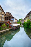 Colmar, Petit Venice, water canal and traditional houses. Alsace, France. Royalty Free Stock Images