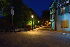 Colmar street at blue hour Stock Photos