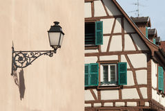 Colmar streetlight, , France. Architecture typical of Colmar in French Alsace Stock Photos