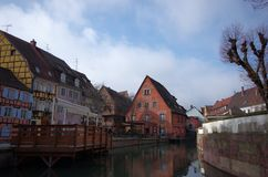Street view from Little Venice Boat Tour, Colmar, France stock image