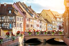 Colmar town in France. Landscape view on the beautiful colorful buildings on the water channel in the famous tourist town Colmar in Alsace region, France Royalty Free Stock Photo