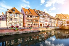 Colmar town in France. Landscape view on the beautiful colorful buildings on the water channel in the famous tourist town Colmar in Alsace region, France Royalty Free Stock Photos