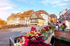 Colmar town in France. Landscape view on the beautiful colorful buildings on the water channel in the famous tourist town Colmar in Alsace region, France Royalty Free Stock Image