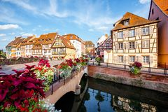 Colmar town in France. Landscape view on the beautiful colorful buildings on the water channel in the famous tourist town Colmar in Alsace region, France Royalty Free Stock Images