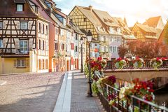 Colmar town in France. Landscape view on the beautiful colorful buildings on the water channel in the famous tourist town Colmar in Alsace region, France Stock Images