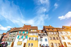 Colmar town in France. View on the beautiful old half-timbered houses during the sunny day in the famous tourist town Colmar in Alsace region, France Royalty Free Stock Images