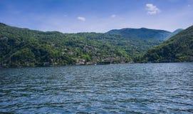 Colmegna - Luino, Lake Maggiore, Lombardy, Italy, Europe. View from Lake Maggiore to Colmegna - Luino, Lake Maggiore, Lombardy, Italy, Europe stock image