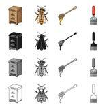 Colmeia em um apiário, um inseto de uma abelha, um dipper para o mel, um raspador Ícones ajustados da coleção do apiário no preto ilustração royalty free